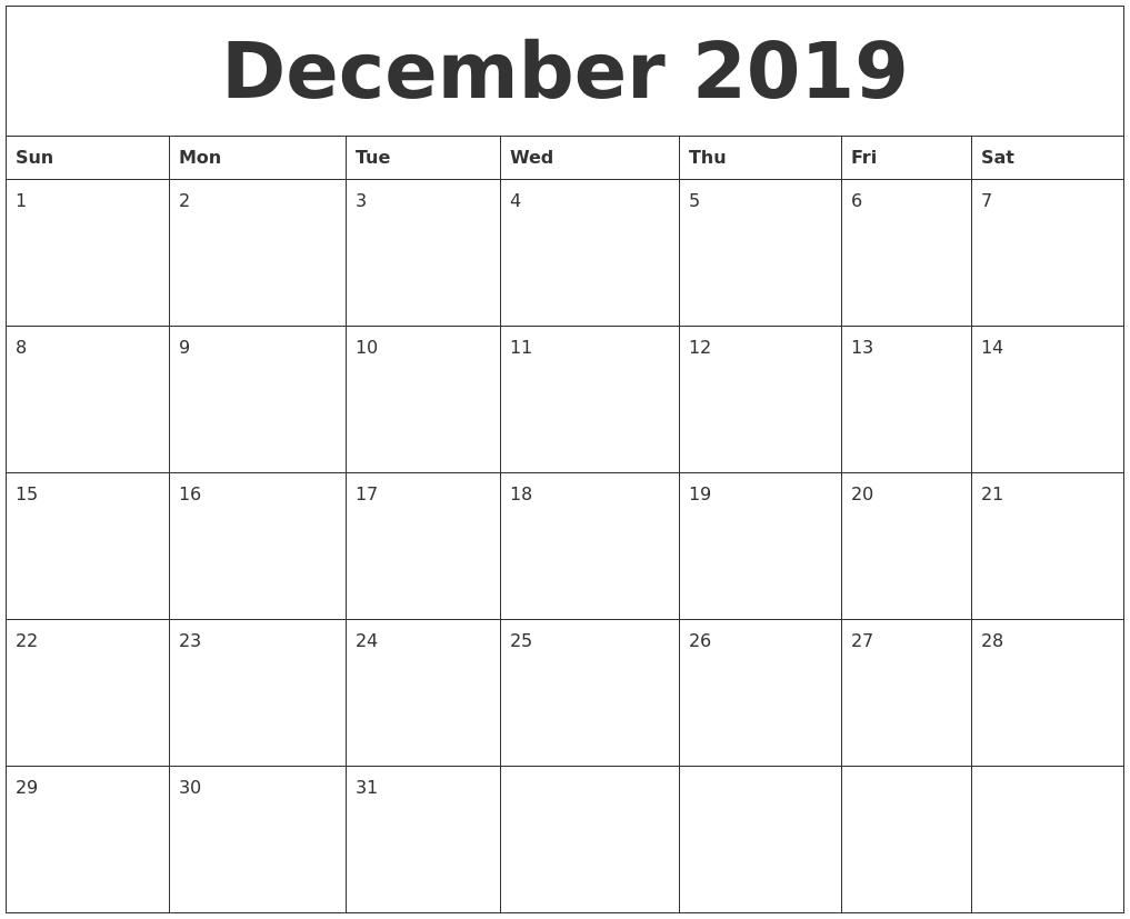 December 2019 Blank Calendar Printable