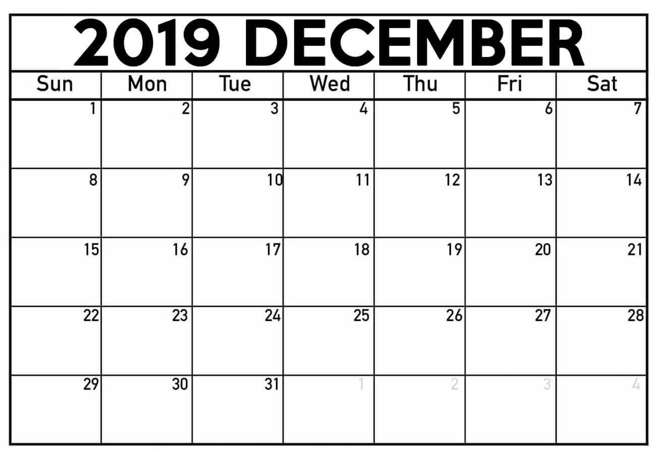 December 2019 Calendar Editable Templates