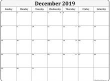 December Editable Calendar 2019