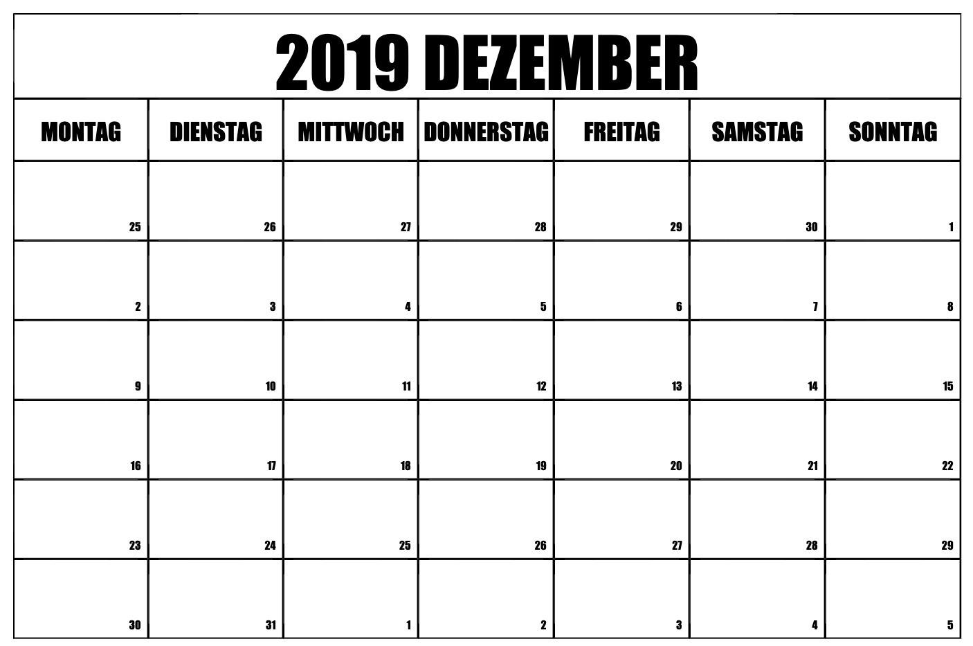 Dezember 2019 Kalender Excel