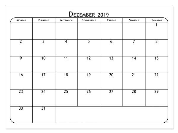 Dezember 2019 Kalender PDF