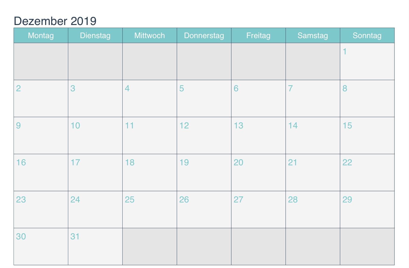 Dezember 2019 Kalender mit Notizen