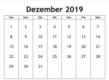 Druckbare Kalender Für 2019 Dezember Monat