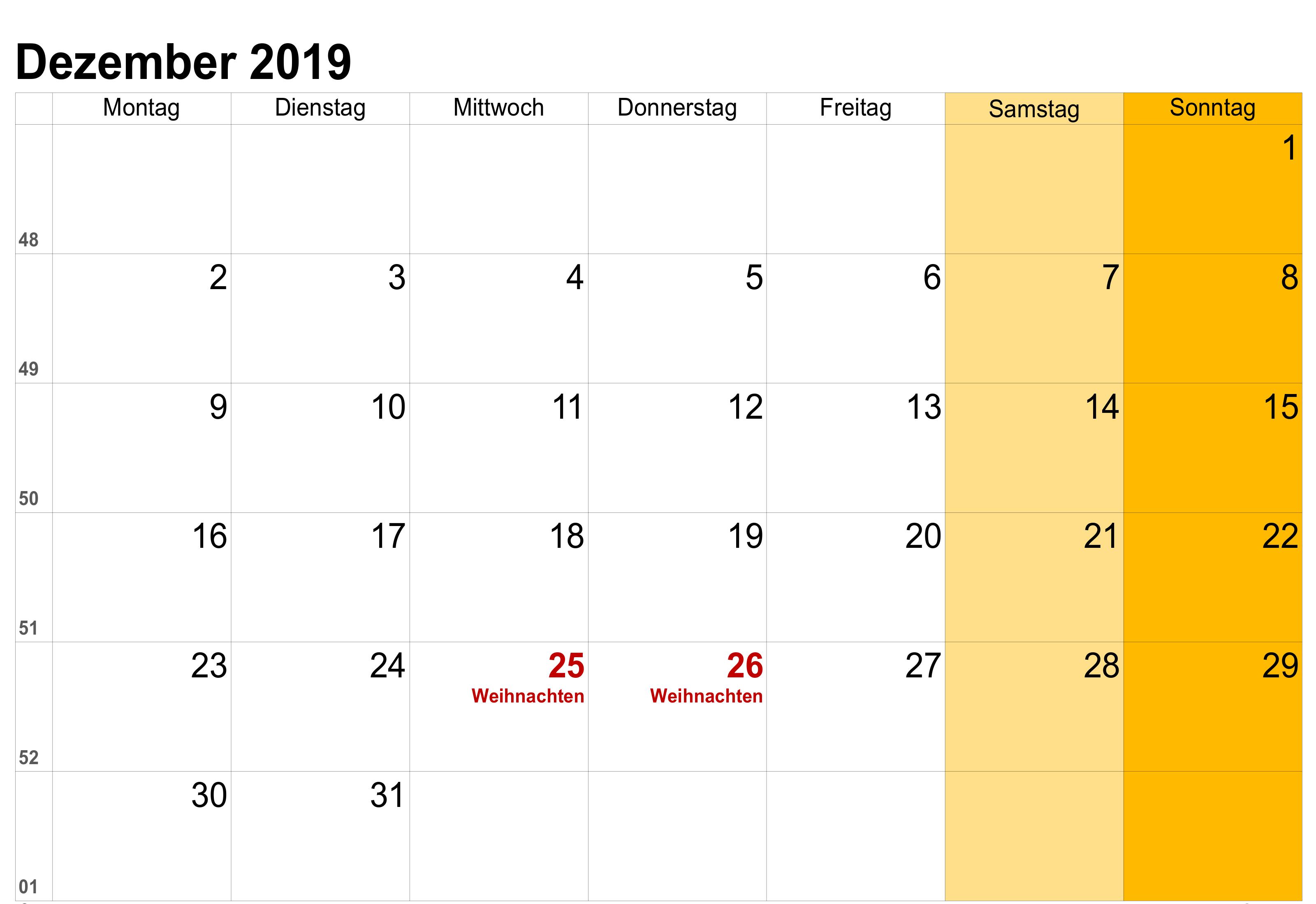 Druckbarer Kalender Dezember 2019