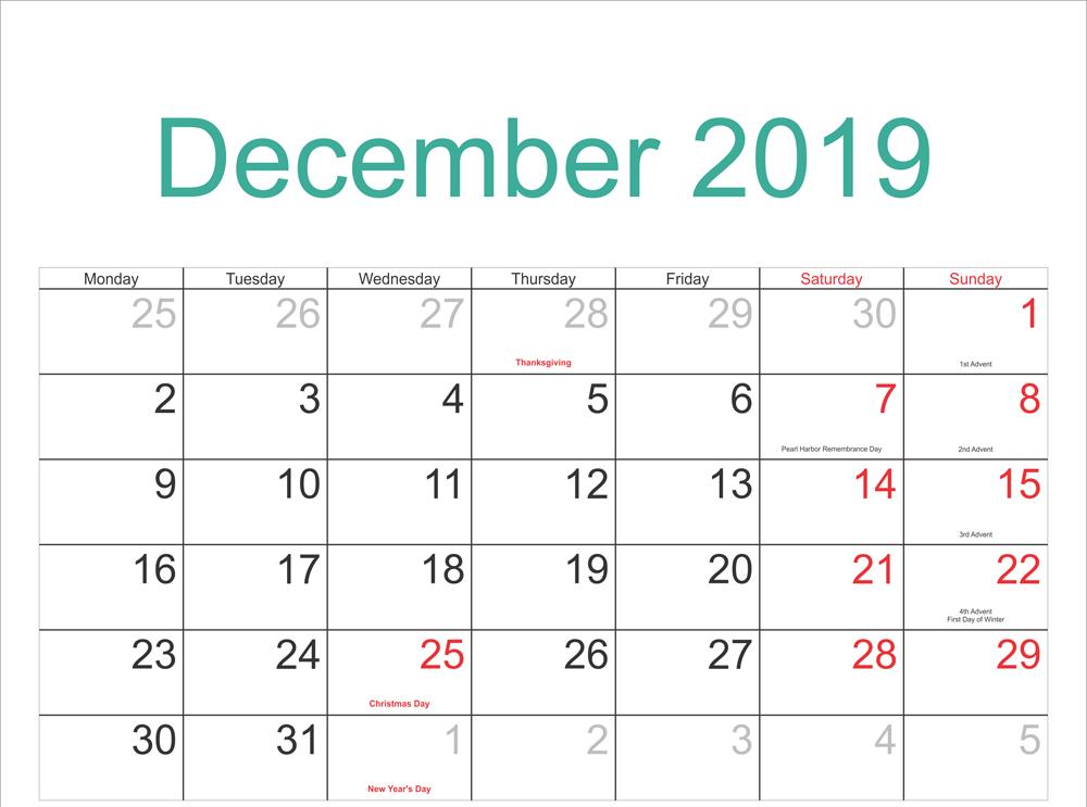 Editable December 2019 Calendar Blank