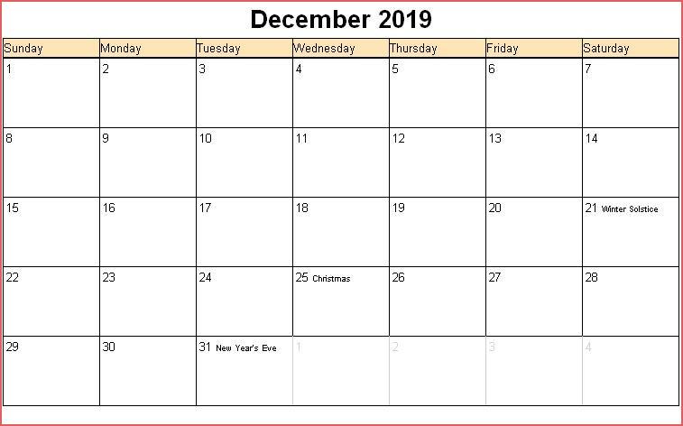 Editable December Calendar 2019 with Holidays
