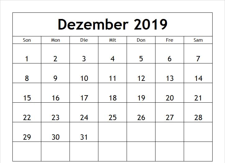 Kalender 2019 Dezember Frei Ausdrucken Ziffern