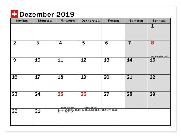 Kalender Dezember 2019