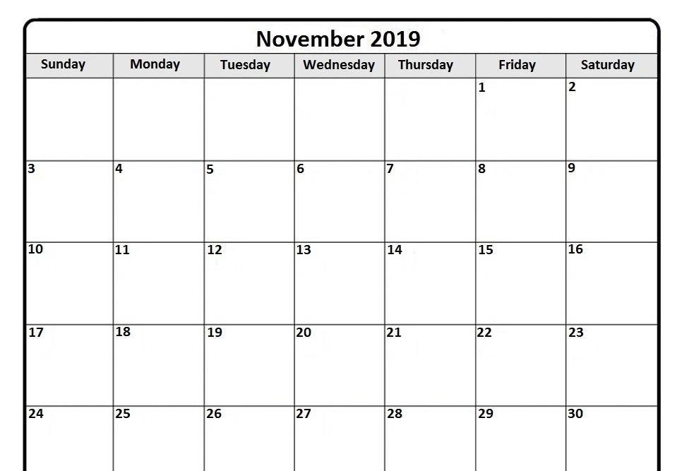 Leere November 2019 Kalender druckbar PDF