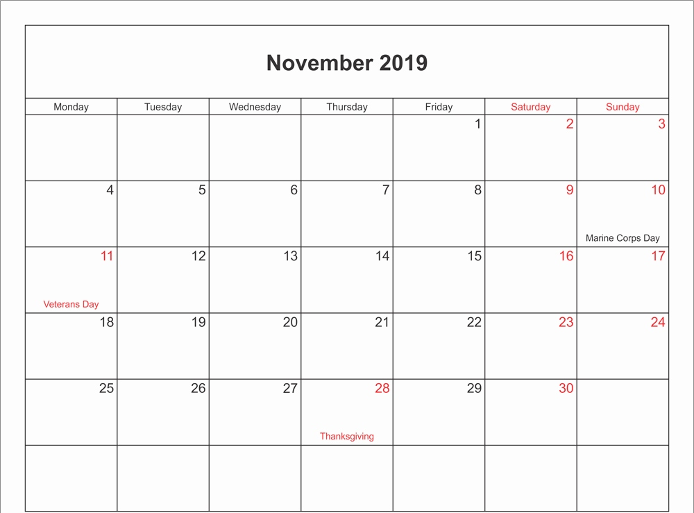 Leere November 2019 Kalender druckbar Word