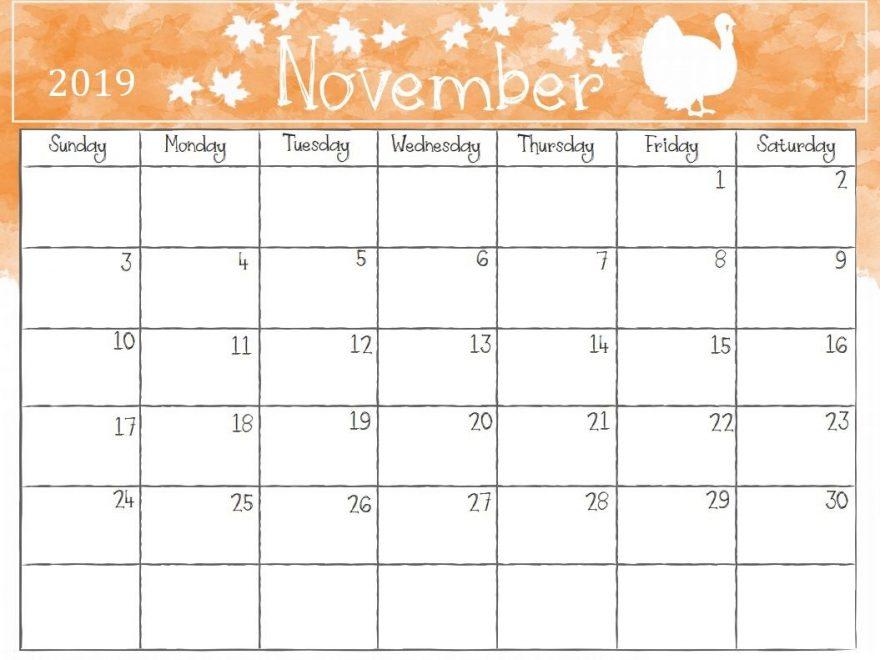 Leere November 2019 Kalender druckbar