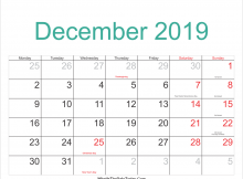 Moon December 2019 Calendar Printable With Holidays