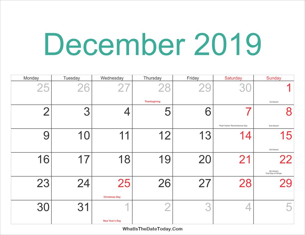 Moon December 2019 Calendar Printable With Holidays