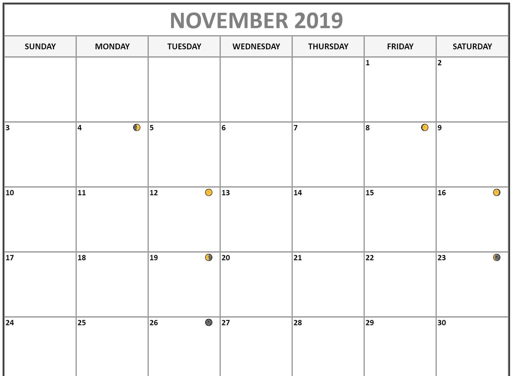 November Calendar 2019 Full Moon