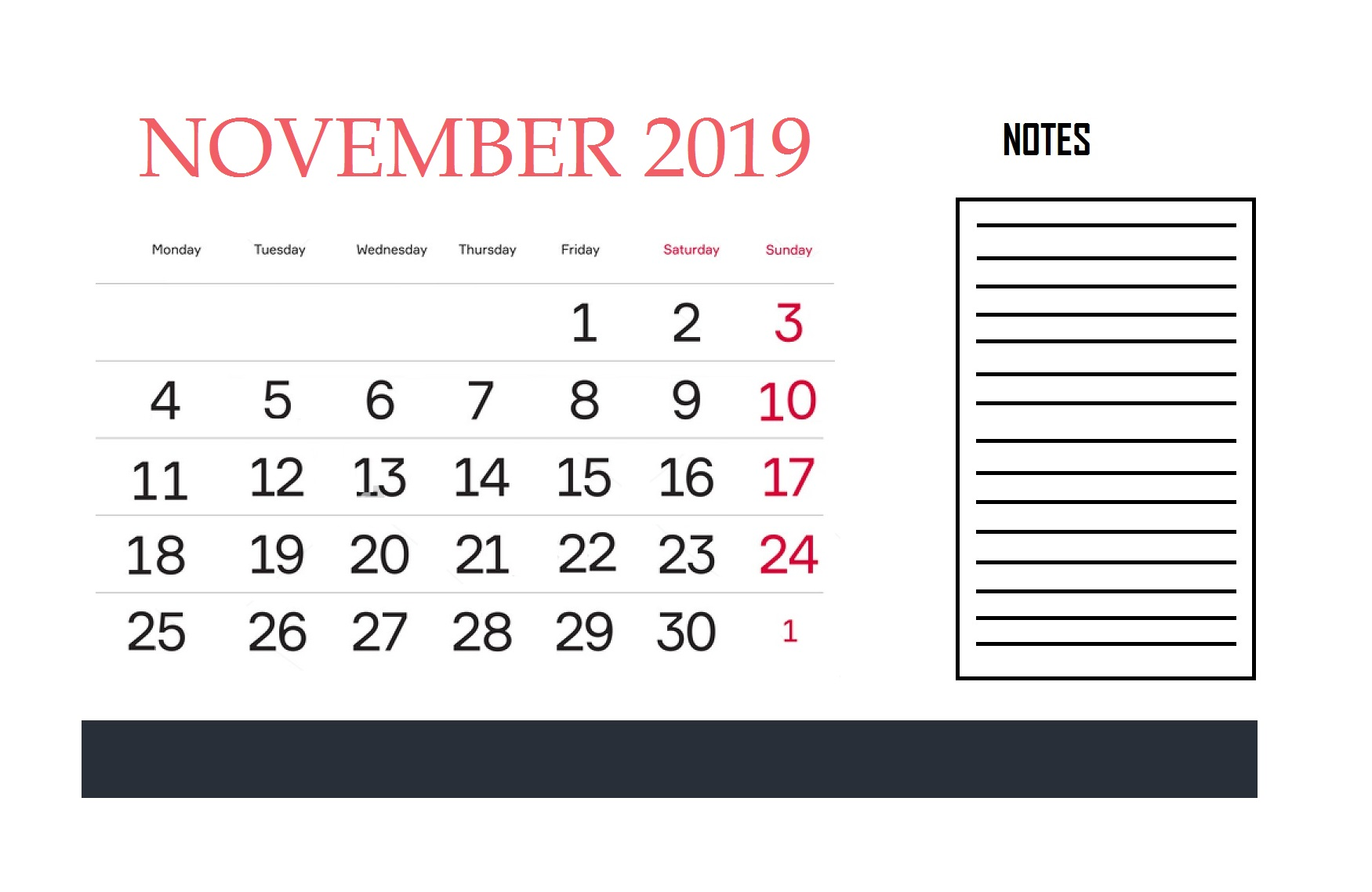November Kalender 2019 mit Notizen
