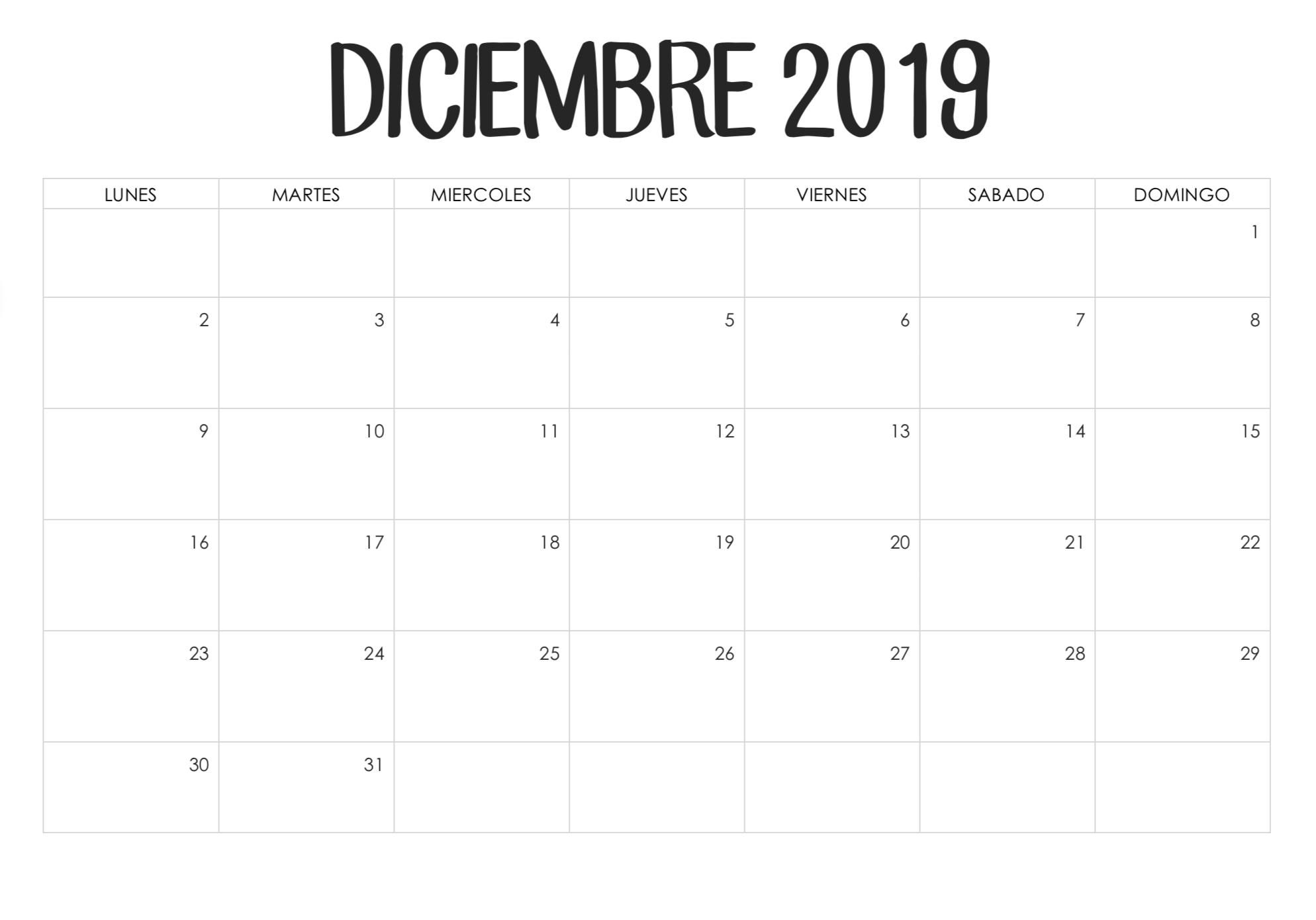 Plantilla de calendario de diciembre de 2019 gratis