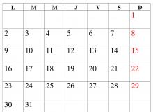 Plantillas para imprimir en blanco del calendario de diciembre de 2019