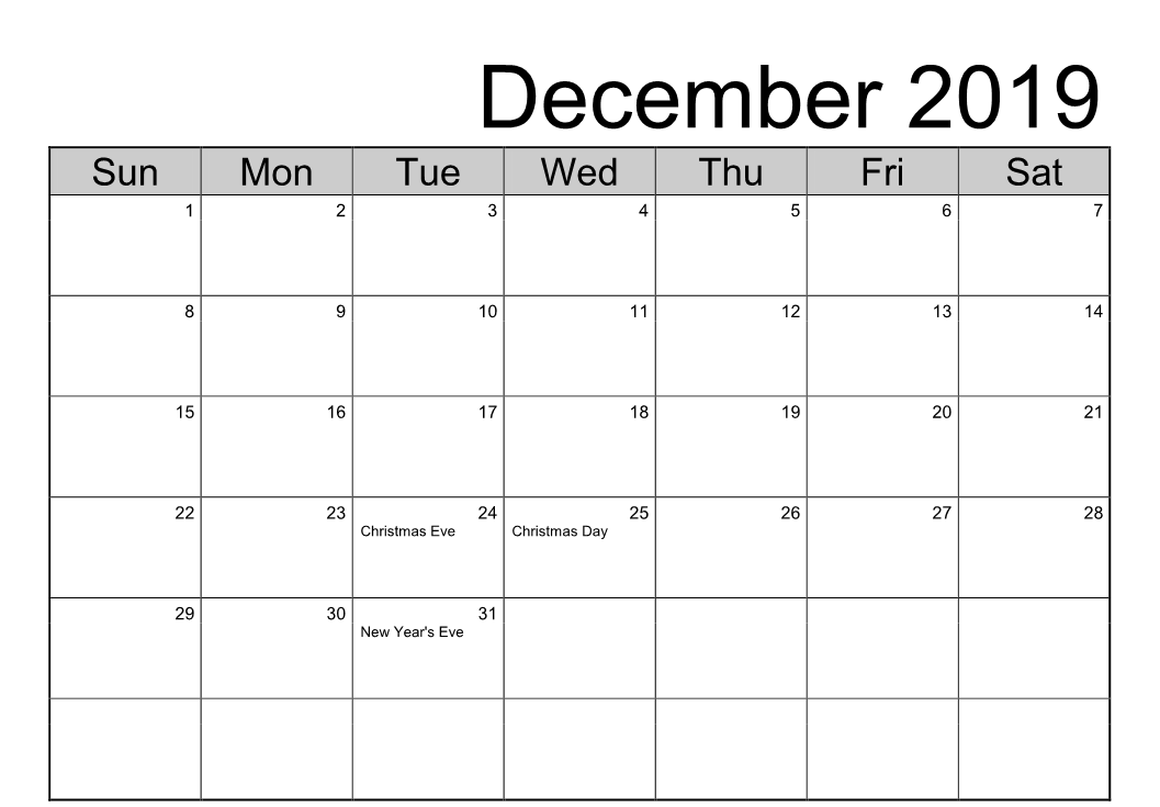 Printable December 2019 Holidays With Notes