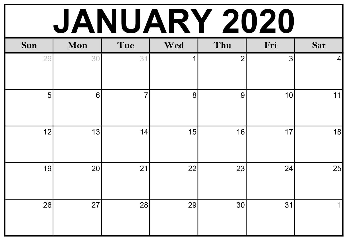 Blank 2020 January Calendar