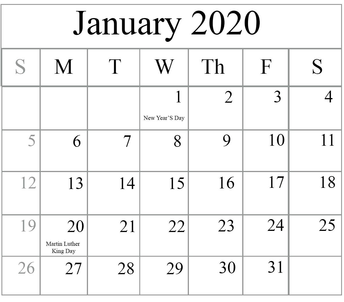 Blank January 2020 Calendar Editable PDF