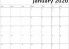 Blank January 2020 Monthly Calendar Template