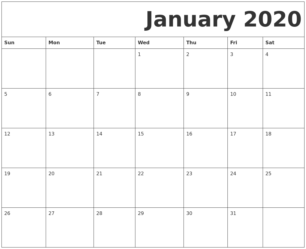 Blank January 2020 Monthly Calendar Template