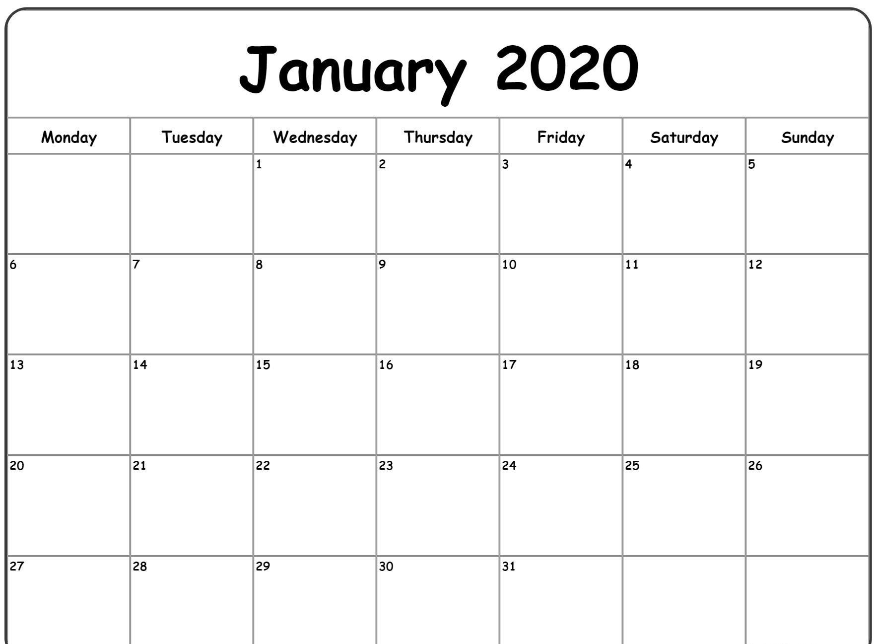 Blank January Calendar 2020 Editable