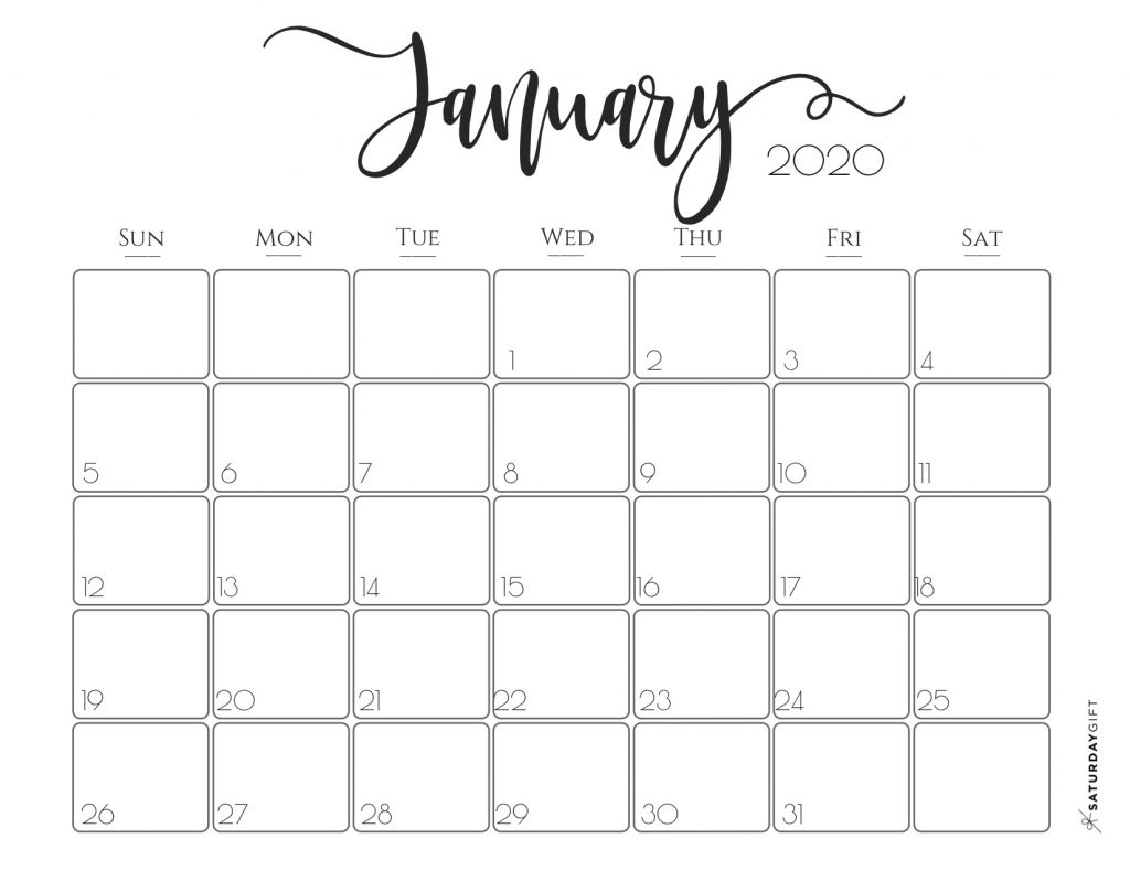 Cute January 2020 Calendar Editable