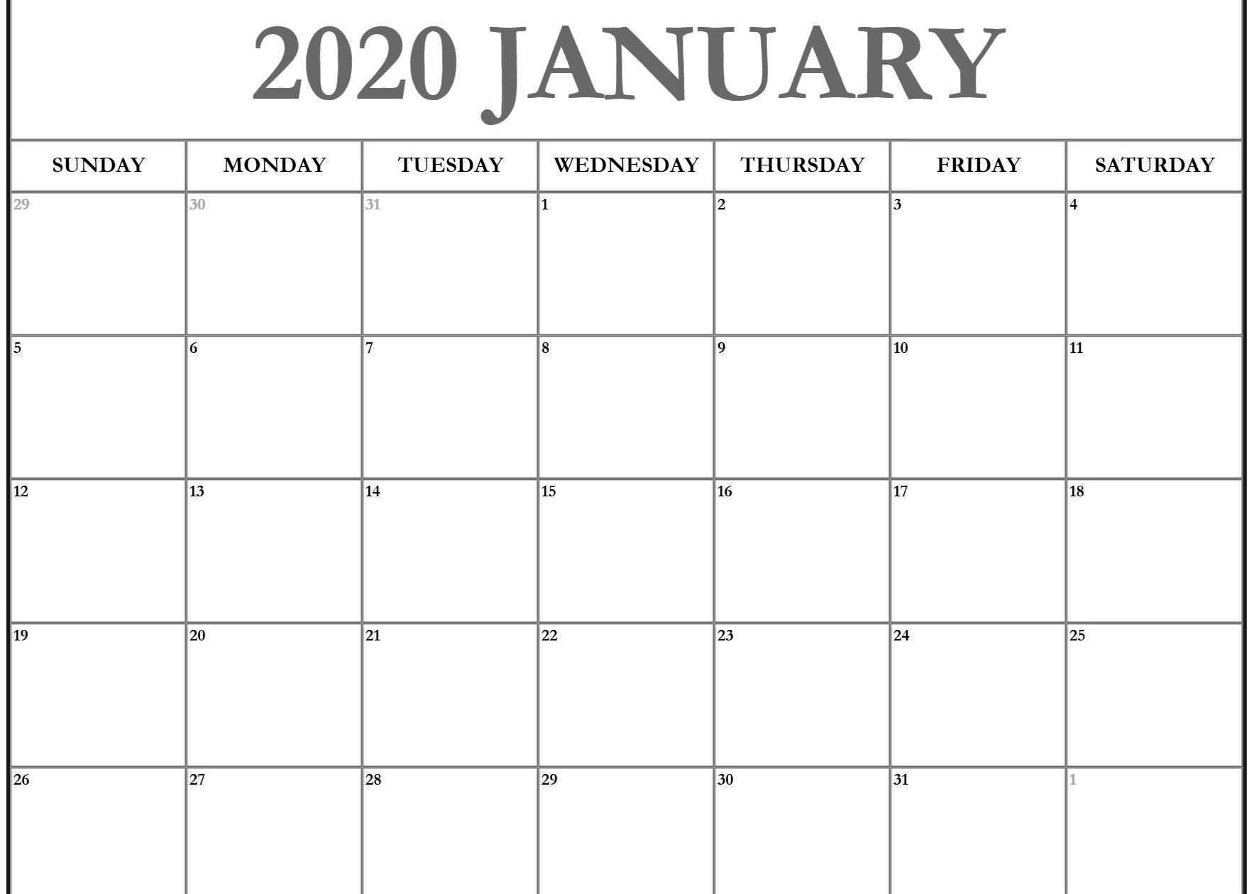 Editable January 2020 Calendar Weekly Blank Template