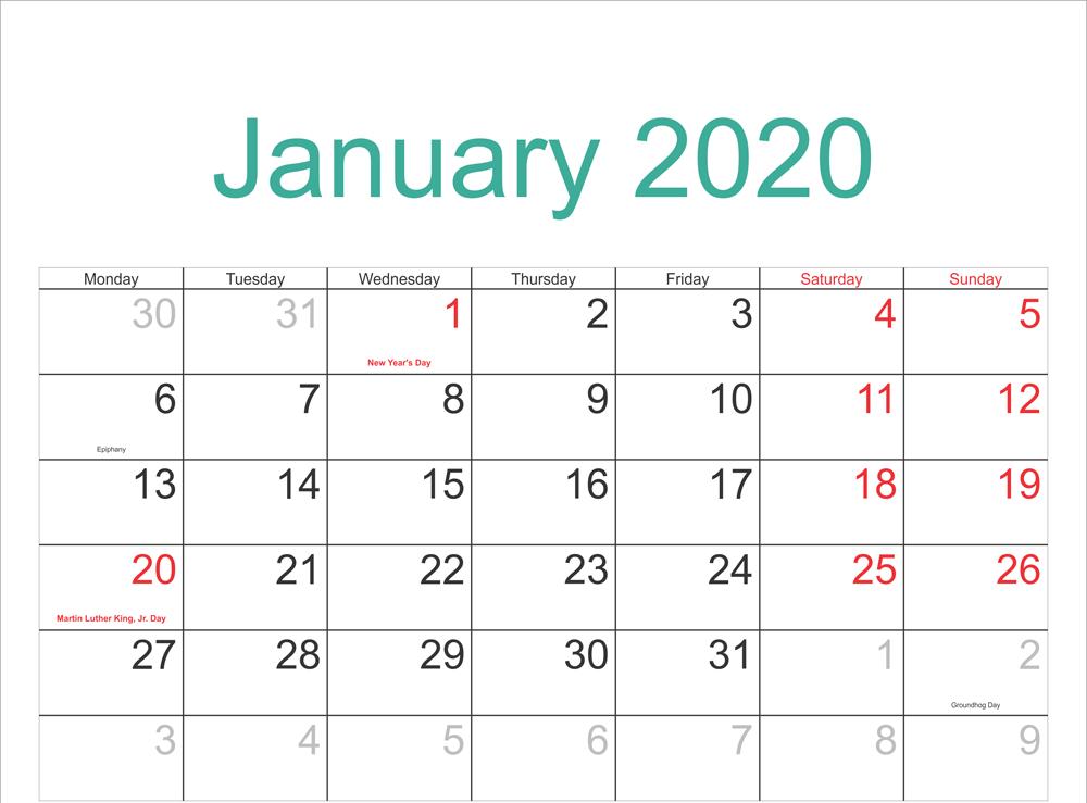 Editable January Calendar 2020