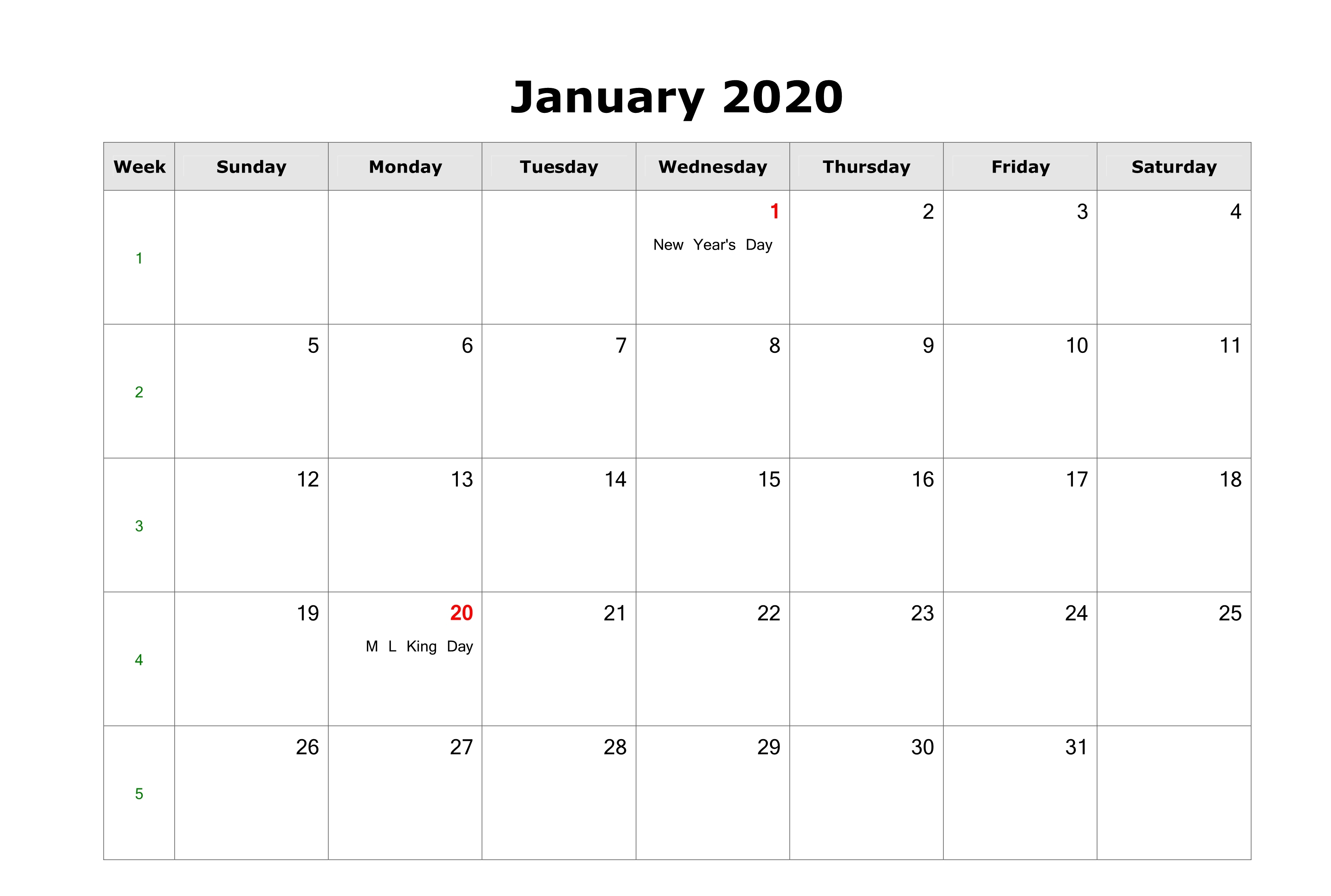 Fillable 2020 January Calendar Holidays