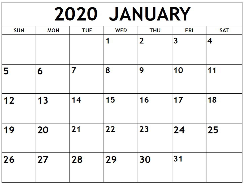January 2020 Calendar Blank Template