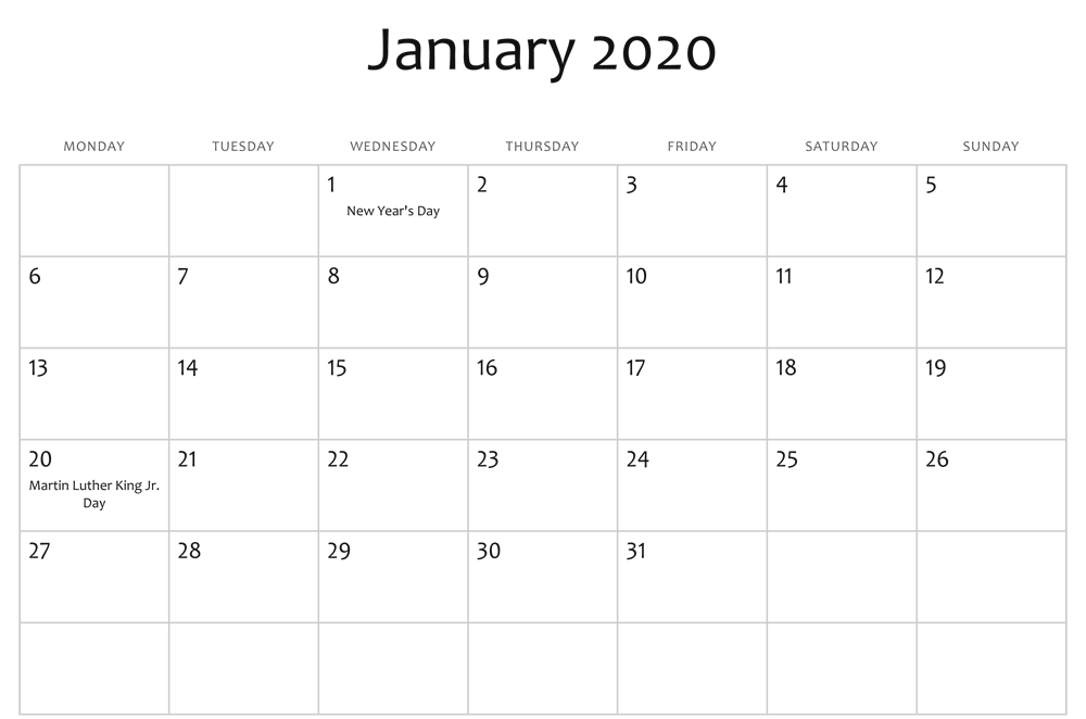 January 2020 Calendar Holidays UK