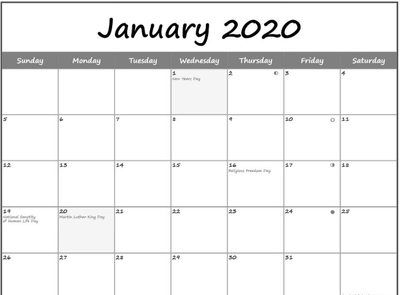 January 2020 Calendar Moon Phases