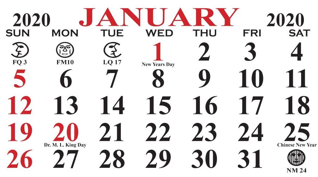 January 2020 Calendar Moon