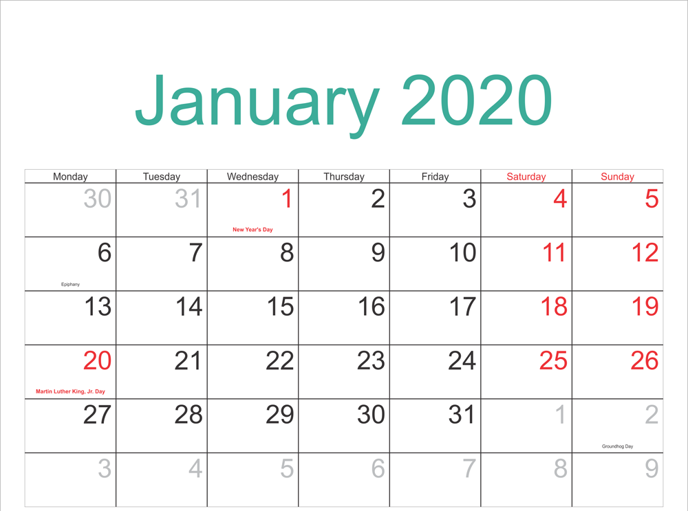 January 2020 Calendar with Holidays