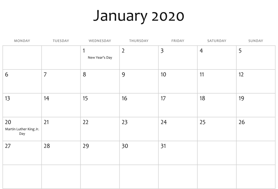 January 2020 Editable Calendar Holidays