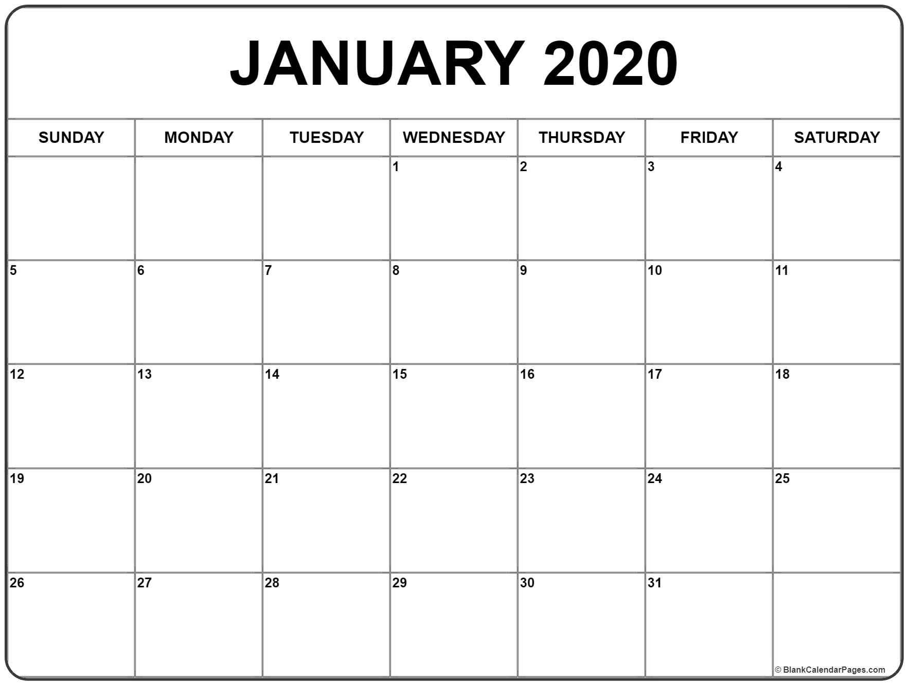 January 2020 Printable Calendar Monthly Editable Template