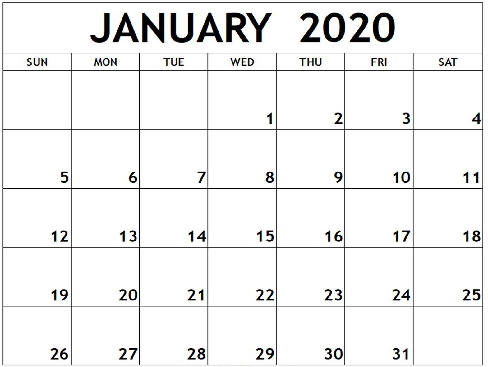 January Calendar 2020 Editable Template