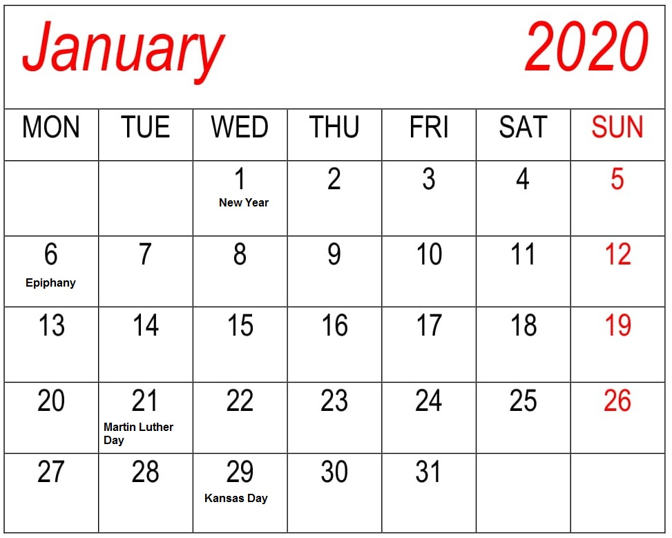 January Calendar 2020 Holidays with Canada