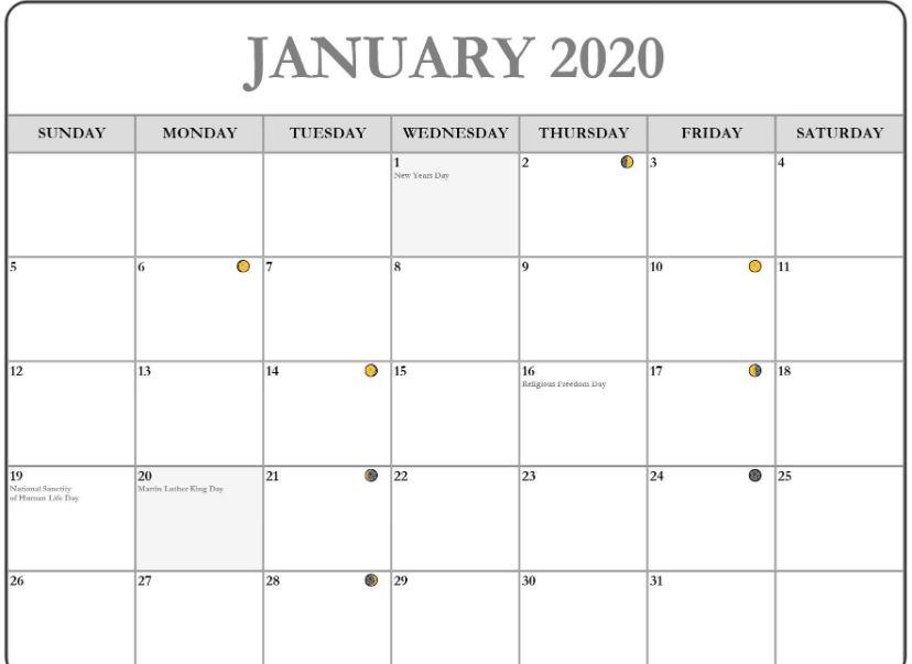 New Moon November 2020.Free Printable January Moon Calendar 2020 Phases Templates