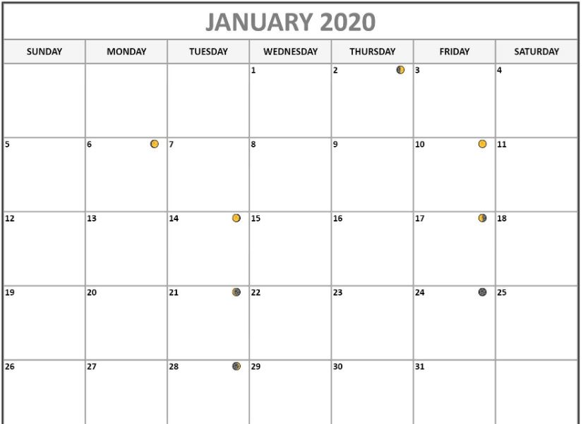 Moon Phases for January 2020 Calendar