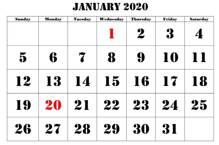 New Moon Calendar for January 2020
