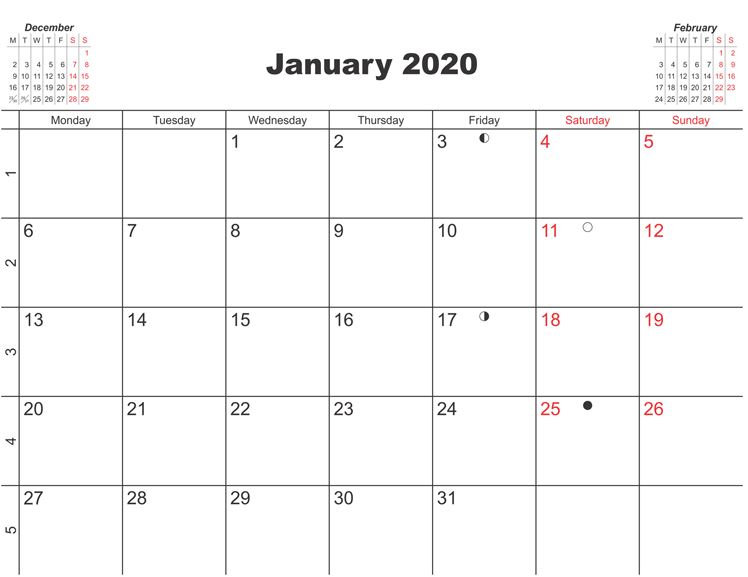Printable January 2020 Moon Calendar