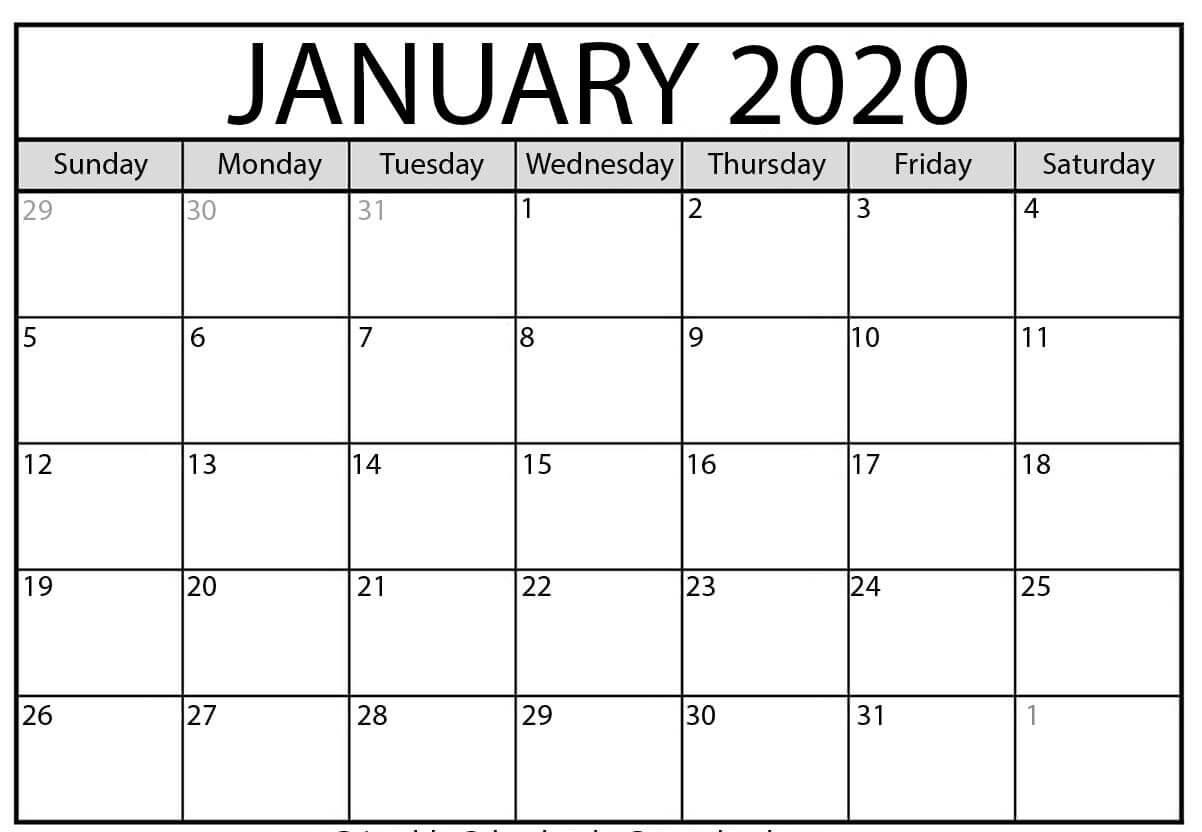 Free Blank January Calendar 2021 Printable Template