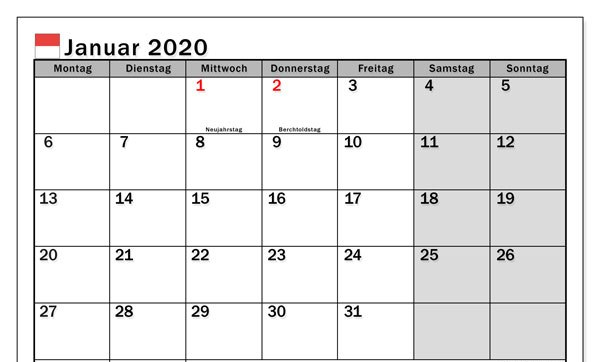 Januar 2020 Kalender zum ausdrucken