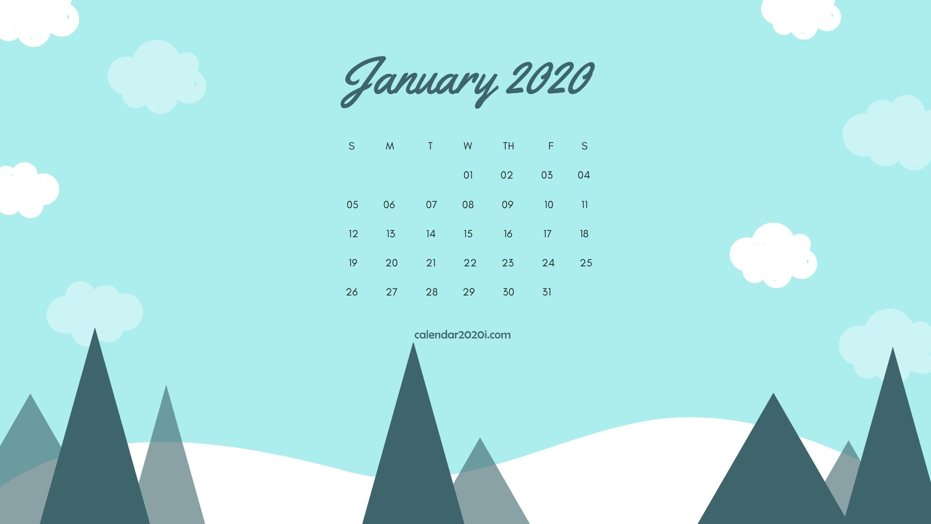 January 2020 Month Calendar Desktop Wallpaper