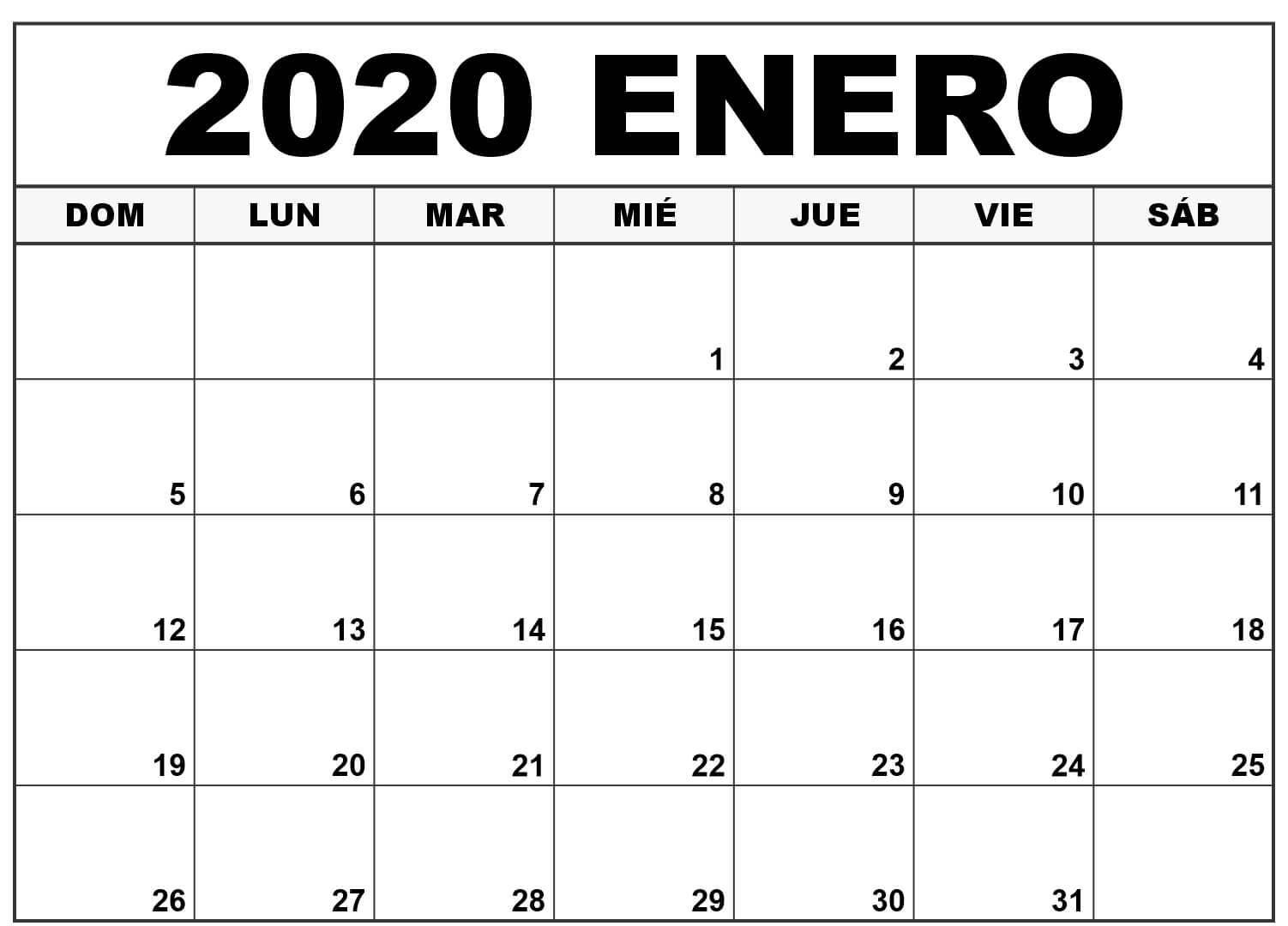 free plantilla imprimible del calendario de enero 2020 en