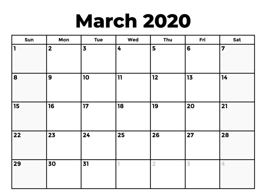2020 March Holidays Calendar