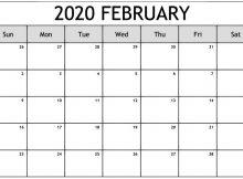 Blank February Calendar 2020 Editable